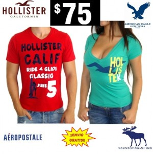 playeras blusas hollister aeropostale abercrombie american eagle $75