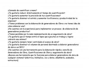 cuantificaciones, generadores, estimaciones y seguimiento de obra